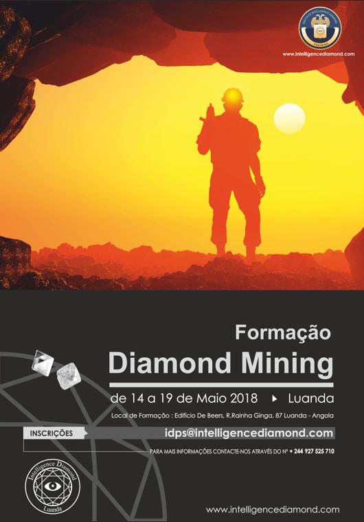 Ação de Formação em Diamond Mining a realizar-se no período entre 14 e 19 de Maio de 2018 em Luanda de segunda a sábado.