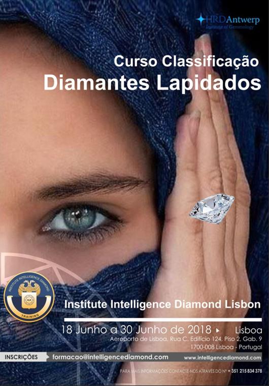 Curso em Classificação de Diamantes Lapidados. A realizar-se no período entre 18 de Junho e 30 de Junho de 2018 em Lisboa de segunda a sábado.